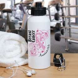 Breast Cancer Awareness Pink Scroll Water Bottle
