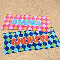 Personalized Argyle Beach Towel