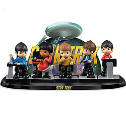 Precious Moments Star Trek Figurine Set with Starship Display