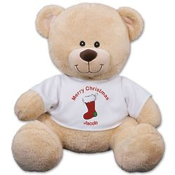 Teddy Bear in Personalized Christmas Stocking T-Shirt