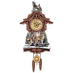 Silent Encounter Sculpted Wolf Wall Clock