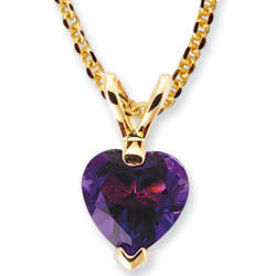 Amethyst Heart Pendant in 14K Gold