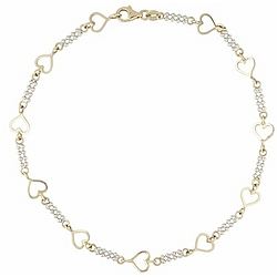 14k Two-Tone Gold Heart Anklet