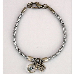 Silver Leather Hamsa & Evil Eye Bracelet
