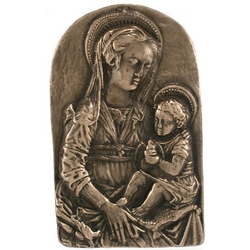 Mother and Child Bronze Plaque