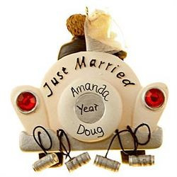 Personalized Car Just Married Wedding Ornament