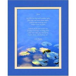 Mom Poem Personalized Water Lily Leaves Matted Print