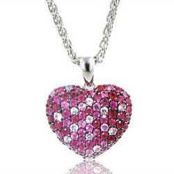 Balissima Pink Sapphire and Ruby Heart Pendant