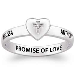 Sterling Silver Couple's Cross Heart Name and Message Ring