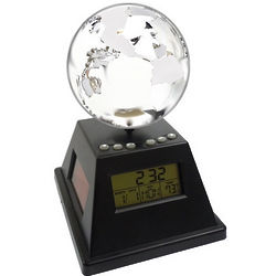 Solar Power Spinning Globe with Alarm Clock
