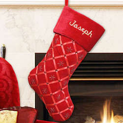 Embroidered Red Ribbon Christmas Stocking