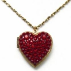 Red Crystal Encrusted Heart Necklace and Locket