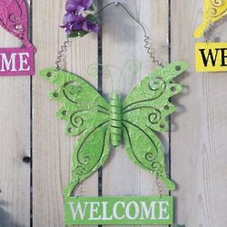 Glittery Butterfly Welcome Sign