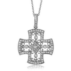 Cubic Zirconia and Sterling Silver Ornate Cross Pendant