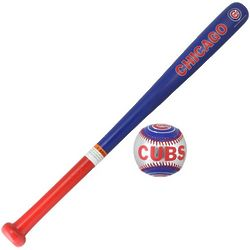 Chicago Cubs Wood Bat and Soft Strike Baseball Set
