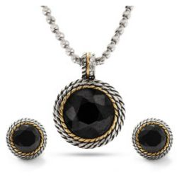 Designer Inspired Round Simulated Onyx Necklace and Earrings
