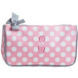 Pink Polka Dot Large Cosmetic Bag