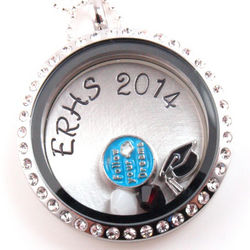 Graduation Floating Locket Personalized Hand Stamped Necklace