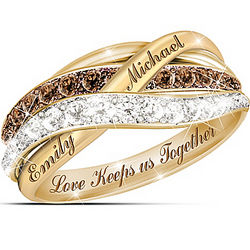 Together in Love Mocha and White Diamonds Women's Ring