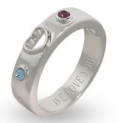 Custom Sterling Silver Birthstone Couple's Promise Ring