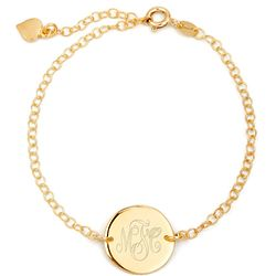Engravable Monogram Gold Plated Disc Bracelet