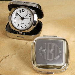 Silver Plated Monogrammed Travel Alarm Clock