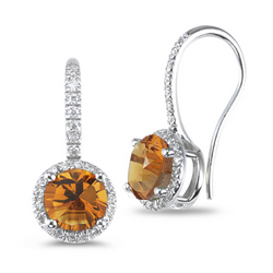 Diamond & Citrine Earrings in 14K White Gold