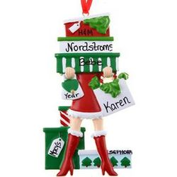 Personalized Shopaholic Girl Ornament