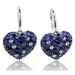 Balissima Sapphire Heart Earrings in Sterling Silver
