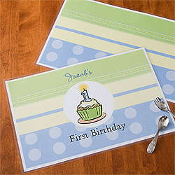 Personalized First Birthday Boy Placemat