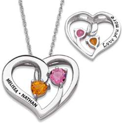 Sterling Silver Couple's Birthstone Love You More Heart Necklace