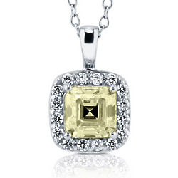 Asscher Cut Canary Cubic Zirconia Sterling Silver Halo Pendant