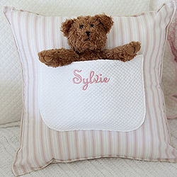 Personalized Pillow with Teddy Bear