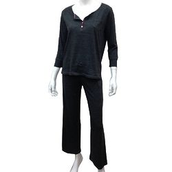 Marled Knit Henley Top and Pant Lounge PJ Set in Charcoal