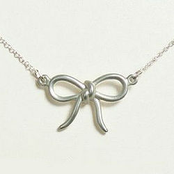 Wedding Party Rhodium Plated Bow Necklace