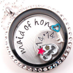Maid of Honor or Bridesmaid Floating Locket Personalized Necklace