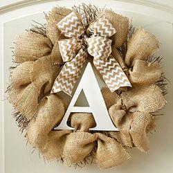 "Burlap Personalized Initial 18"" Wreath"