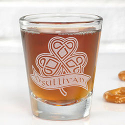 Celtic Shamrock Personalized Shot Glass