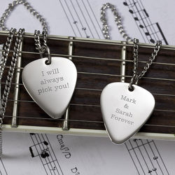 Romantic Love Personalized Silver Guitar Pick Pendant