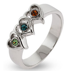 Sterling Silver 3 Stone Heart Austrian Crystal Mother's Ring