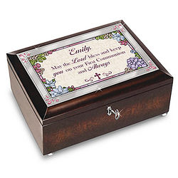 First Communion Personalized Music Box with Poem Card