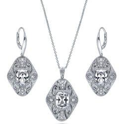 Sterling Silver CZ Art Deco Filigree Milgrain Necklace & Earrings