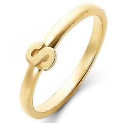Personalized Stackable Gold Initial Ring