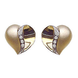Satin Finish Diamond Heart Earrings