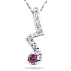 Diamond & Ruby Pendant in 14K White Gold with Chain