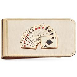 23K Gold Electroplated Playing Card Money Clip