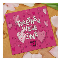 Together We're One Personalized Square Shaped Wood Jigsaw Puzzle