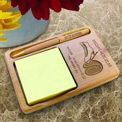 Personalized Ice Skating Wooden Notepad & Pen Holder