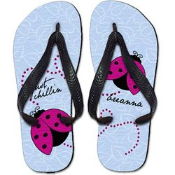 Personalized Childrens Lady Bug Flip Flops