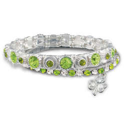 Double Strand Green Crystal Bracelet